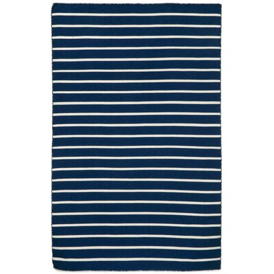 Ranier Pinstripe Hand-Woven Navy Indoor/Outdoor Area Rug Rug Size: Rectangle 5 x 76
