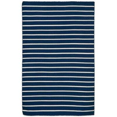 Ranier Pinstripe Hand-Woven Navy Indoor/Outdoor Area Rug Rug Size: Rectangle 83 x 116