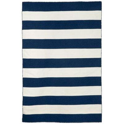 Ranier Stripe Hand-Woven Navy Indoor/Outdoor Area Rug Rug Size: Rectangle 36 x 56