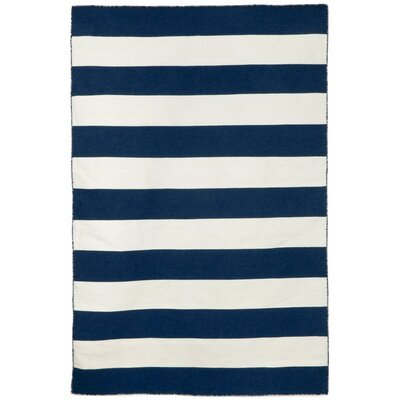 Ranier Stripe Hand-Woven Navy Indoor/Outdoor Area Rug Rug Size: Rectangle 76 x 96
