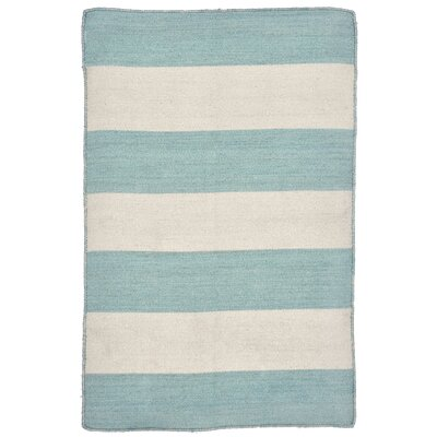 Ranier Stripe Hand-Woven Blue/Beige Indoor/Outdoor Area Rug Rug Size: Rectangle 2 x 3