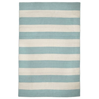 Ranier Stripe Hand-Woven Blue/Beige Indoor/Outdoor Area Rug Rug Size: Rectangle 36 x 56