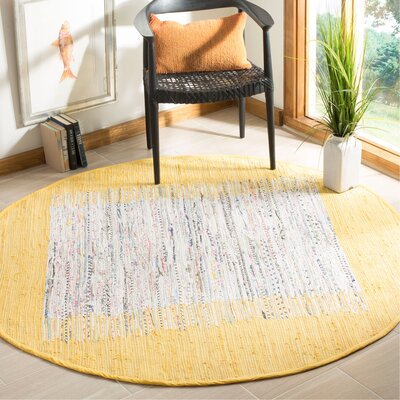 Ona Hand-Woven Cotton Ivory/Yellow Area Rug Rug Size: Round 6