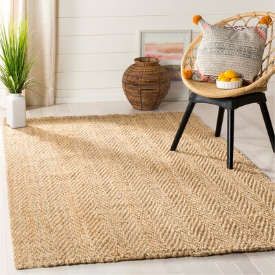 Claudette Fiber Hand-Woven Natural Area Rug Rug Size: Rectangle 5 x 8