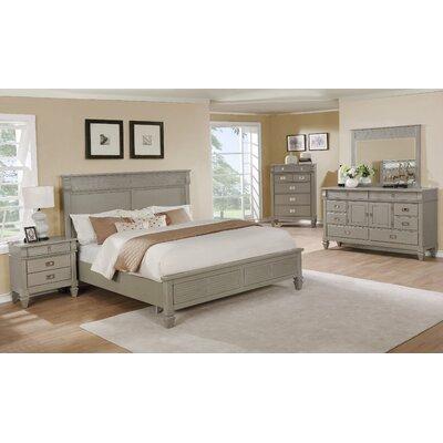 Vasilikos Gray Solid Wood Construction Platform 5 Piece Bedroom Set Size: Queen