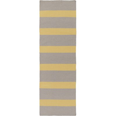 Peugeot Gold/Light Gray Indoor/Outdoor Area Rug Rug Size: Runner 26 x 8