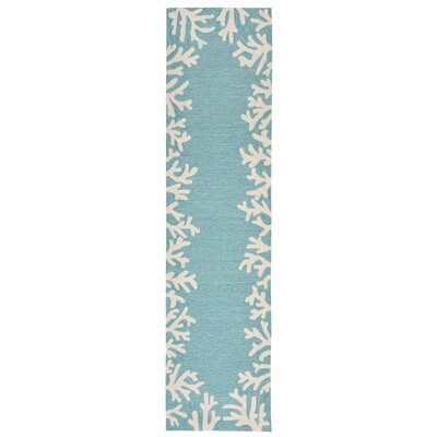 Claycomb Coral Border Hand-Tufted Aqua Indoor/Outdoor Area Rug Rug Size: Runner 2 x 8