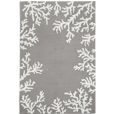 Claycomb Coral Border Hand-Tufted Silver Indoor/Outdoor Area Rug Rug Size: Rectangle 76 x 96