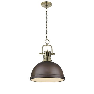 Bodalla 1-Light Inverted Pendant Finish: Aged Brass with Rubbed Bronze Shade
