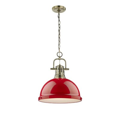 Bodalla 1-Light Inverted Pendant Finish: Aged Brass with Red Shade