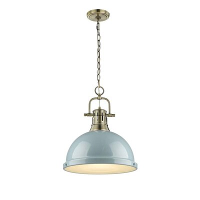 Bodalla 1-Light Inverted Pendant Finish: Aged Brass with Seafoam Shade