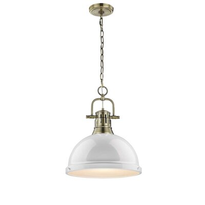 Bodalla 1-Light Inverted Pendant Finish: Aged Brass with White Shade
