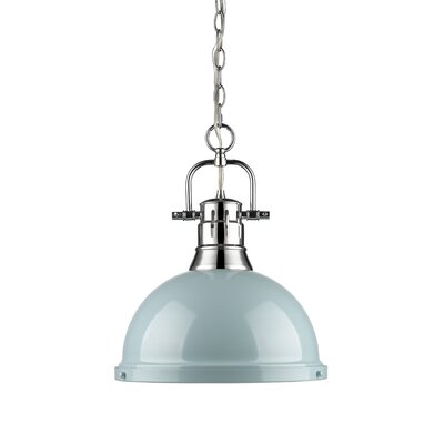 Bodalla 1-Light Inverted Pendant Finish: Chrome with Seafoam Shade