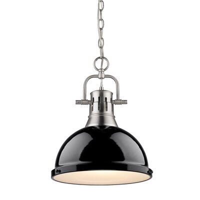 Bodalla 1-Light Inverted Pendant Finish: Pewter with Black Shade