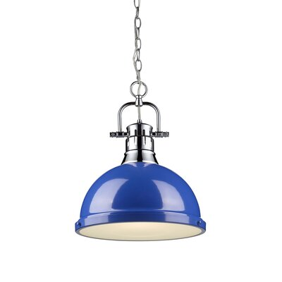 Bodalla 1-Light Inverted Pendant Finish: Aged Brass with Blue Shade