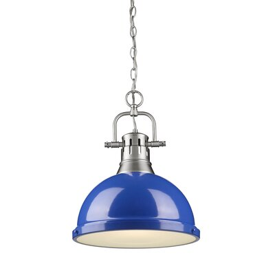 Bodalla 1-Light Inverted Pendant Finish: Pewter with Blue Shade