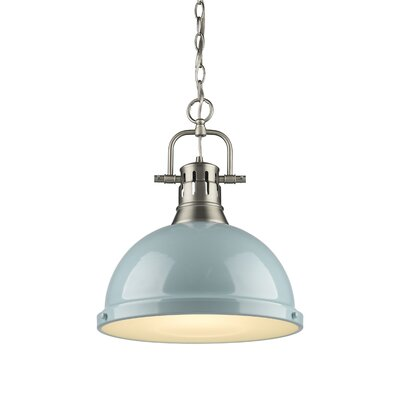 Bodalla 1-Light Inverted Pendant Finish: Pewter with Seafoam Shade