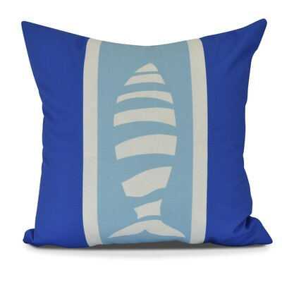 Golden Gate Puzzle Fish Outdoor Throw Pillow Size: 20 H x 20 W x 3 D, Color: Royal Blue/Light Blue