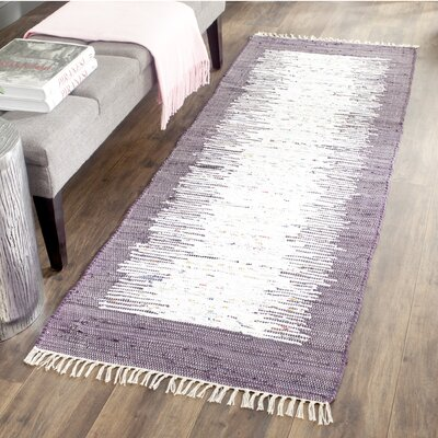 Ona Hand-Woven Cotton Purple/White Area Rug Rug Size: Rectangle 5 x 8