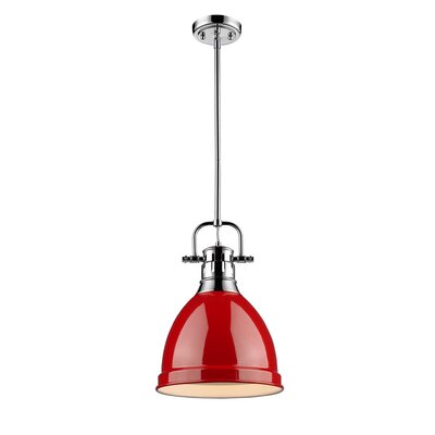 Bodalla 1-Light Mini Pendant Finish: Chrome with Red Shade