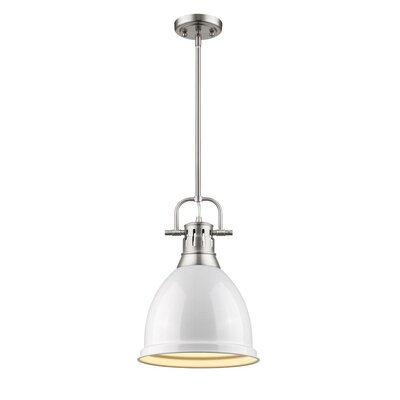 Bodalla 1-Light Mini Pendant Finish: Pewter with White Shade