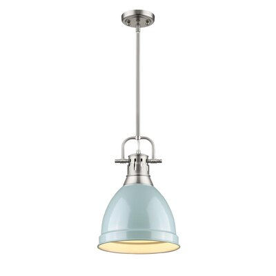 Bodalla 1-Light Mini Pendant Finish: Pewter with Seafoam Shade
