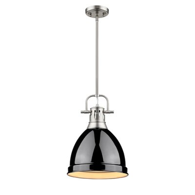 Bodalla 1-Light Mini Pendant Finish: Pewter with Black Shade