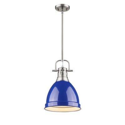 Bodalla 1-Light Mini Pendant Finish: Pewter with Blue Shade