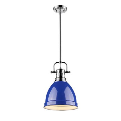 Bodalla 1-Light Mini Pendant Finish: Chrome with Blue Shade