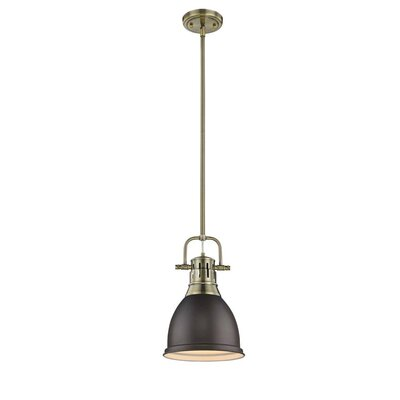 Bodalla 1-Light Mini Pendant Finish: Aged Brass with Rubbed Bronze Shade