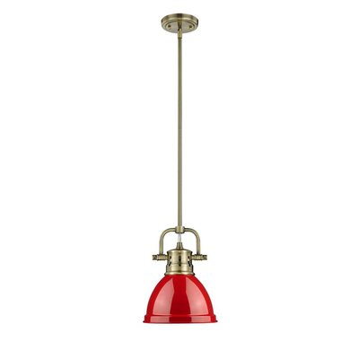 Bodalla 1-Light Bowl Metal Mini Pendant Finish: Aged Brass with Red Shade