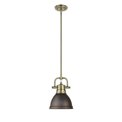 Bodalla 1-Light Bowl Metal Mini Pendant Finish: Aged Brass with Rubbed Bronze Shade