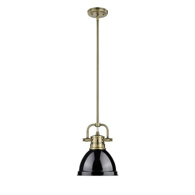 Bodalla 1-Light Bowl Metal Mini Pendant Finish: Aged Brass with Black Shade