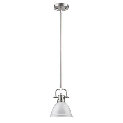 Bodalla 1-Light Bowl Metal Mini Pendant Finish: Pewter with White Shade