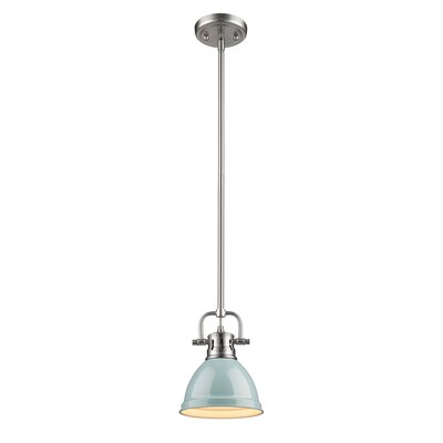 Bodalla 1-Light Bowl Metal Mini Pendant Finish: Pewter with Seafoam Shade