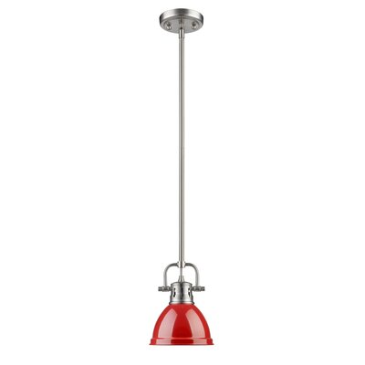Bodalla 1-Light Bowl Metal Mini Pendant Finish: Pewter with Red Shade