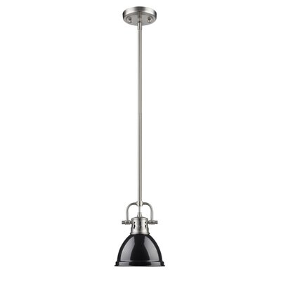 Bodalla 1-Light Bowl Metal Mini Pendant Finish: Pewter with Black Shade