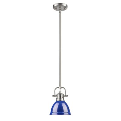 Bodalla 1-Light Bowl Metal Mini Pendant Finish: Pewter with Blue Shade