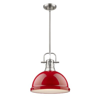 Bodalla 1-Light Mini Pendant Finish: Pewter with Red Shade