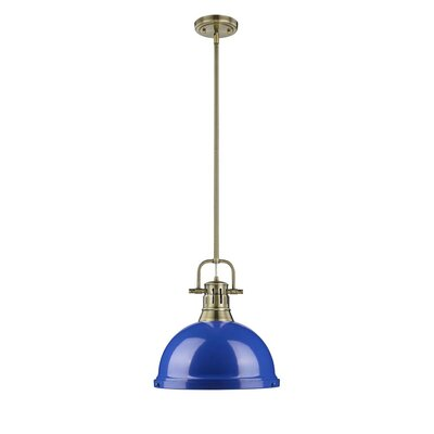 Bodalla 1-Light Pendant Finish: Aged Brass with Blue Shade