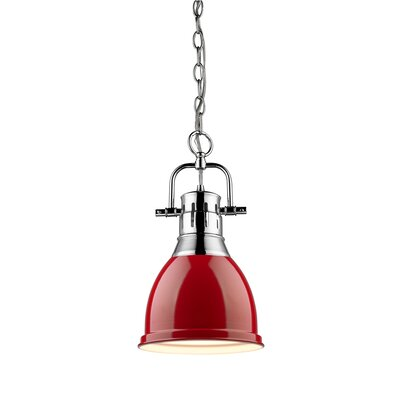 Balden 1-Light Inverted Pendant Finish: Chrome with Red Shade