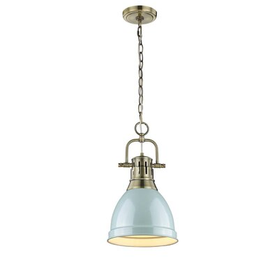 Balden 1-Light Inverted Pendant Finish: Aged Brass with Seafoam Shade