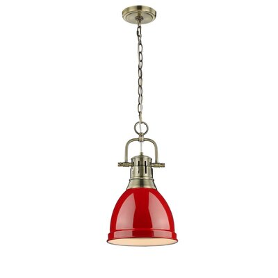 Balden 1-Light Inverted Pendant Finish: Aged Brass with Red Shade