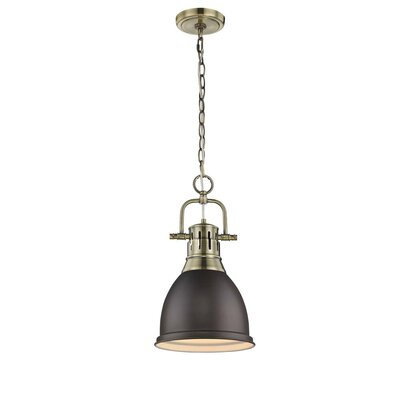 Balden 1-Light Inverted Pendant Finish: Aged Brass with Rubbed Bronze Shade