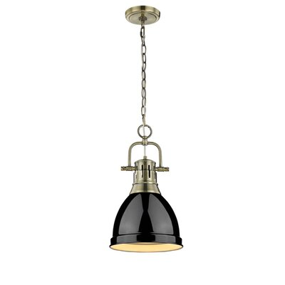 Balden 1-Light Inverted Pendant Finish: Black with Seafoam Shade