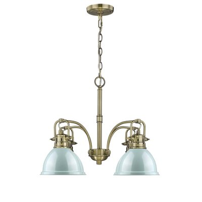 Bodalla 4-Light Shaded Chandelier Finish: Aged Brass with Seafoam Shade