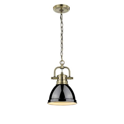 Bodalla 1-Light Mini Pendant Finish: Aged Brass with Black Shade