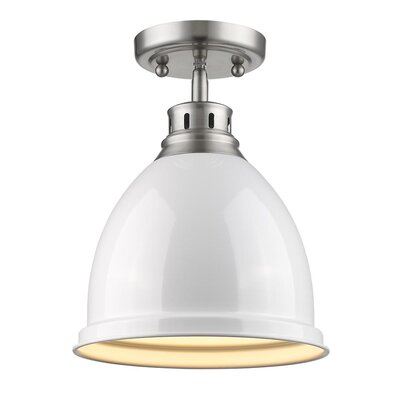 Bodalla 1-Light Semi Flush Mount Finish: Pewter with White Shade