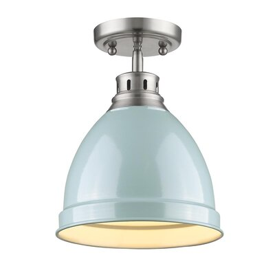 Bodalla 1-Light Semi Flush Mount Finish: Pewter with Seafoam Shade