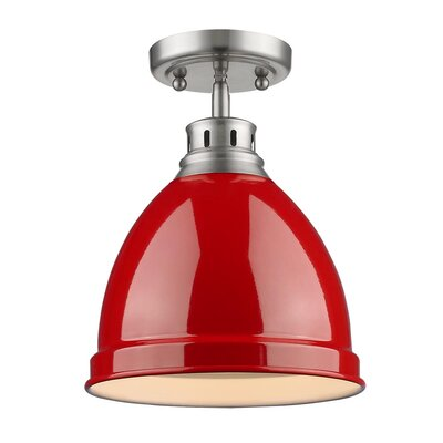 Bodalla 1-Light Semi Flush Mount Finish: Pewter with Red Shade